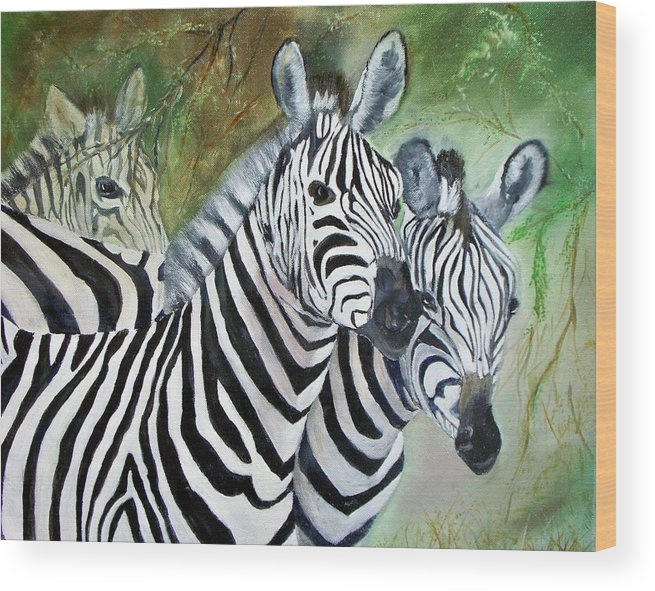 Zebra Wildlife Africa Animals Wood Print featuring the painting Three Z Puzzle by Lynda McDonald