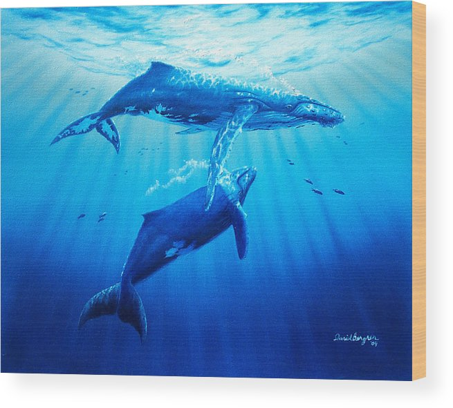 Whale Wood Print featuring the painting Together by Daniel Bergren