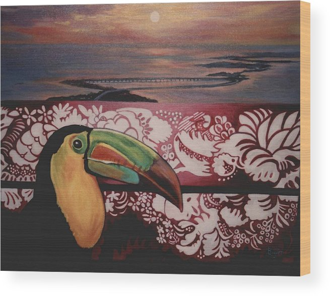 Bird Wood Print featuring the painting Toucan by Diann Baggett