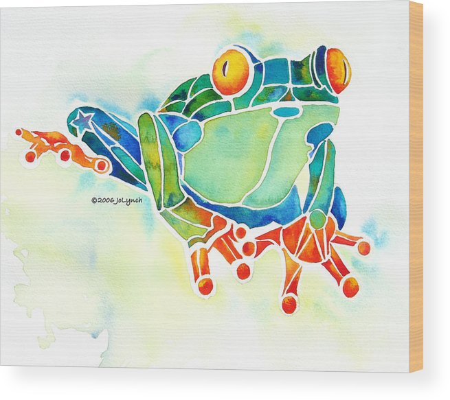 Tree Frog Wood Print featuring the painting Tree Frog In Greens by Jo Lynch
