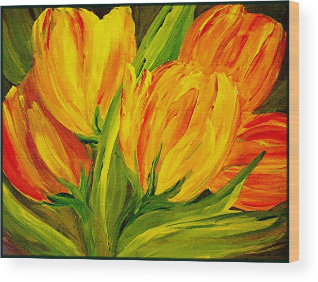 Flower Wood Print featuring the painting Tulips Parrot Yellow Orange by Carol Nelissen