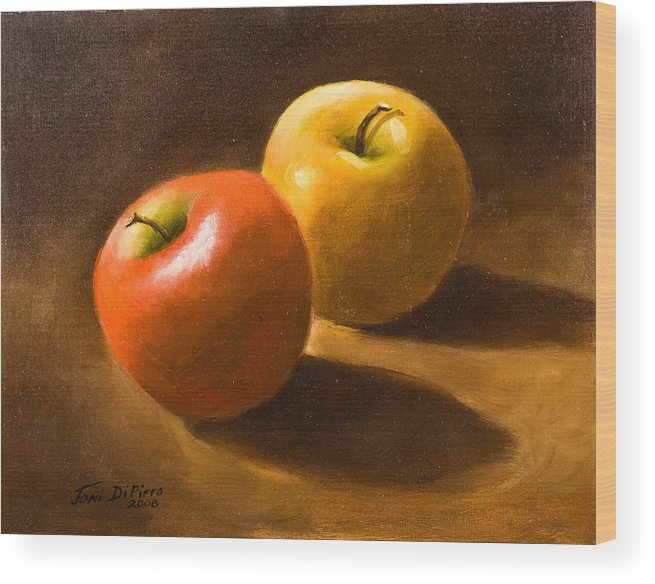 Wood Print featuring the painting Two Apples by Joni Dipirro