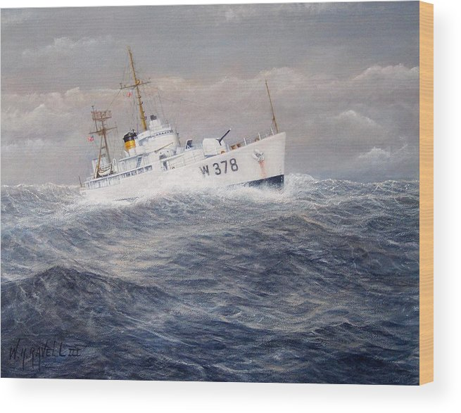Coast Guard Cutter Wood Print featuring the painting U. S. Coast Guard Cutter Halfmoon by William H RaVell III