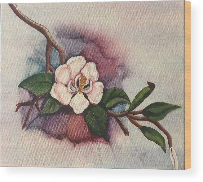 Magnolia Wood Print featuring the painting Understated Beauty by Gilda Thomas