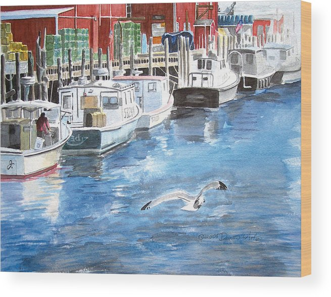 Seagull Wood Print featuring the painting Union Wharf by Dominic White