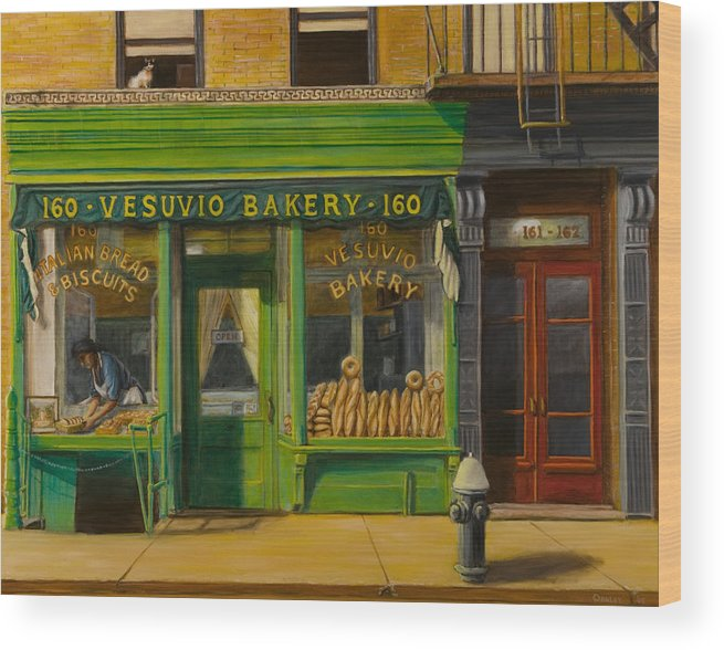 Vesuvio Bakery Wood Print featuring the painting Vesuvio Bakery In New York City by Christopher Oakley