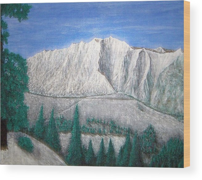 Snow Wood Print featuring the painting Viewfrom Spruces by Michael Cuozzo