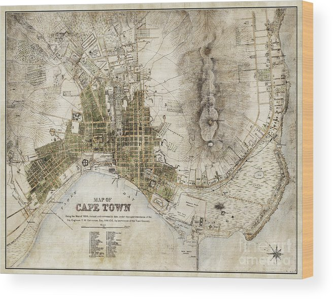 Vintage Antique Cape Town South Africa City Map Wood Print by ELITE ...