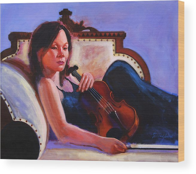 Portrait Wood Print featuring the painting Violino by John Tartaglione