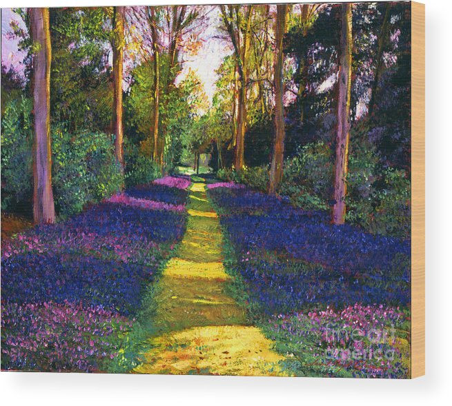 Trees Wood Print featuring the painting Walk Through Blue by David Lloyd Glover