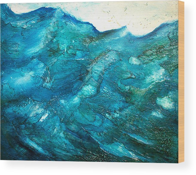 Contemporary Wood Print featuring the painting wave VII by Martine Letoile