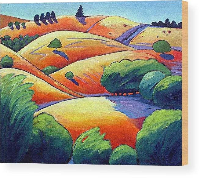 Landscape Wood Print featuring the painting Waves Of Hills by Gary Coleman