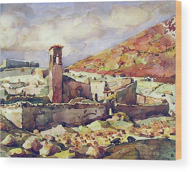 Watercolor Landscape Wood Print featuring the painting Wb1955bo001 Landscape Of Potosi 11.5x9 by Alfredo Da Silva