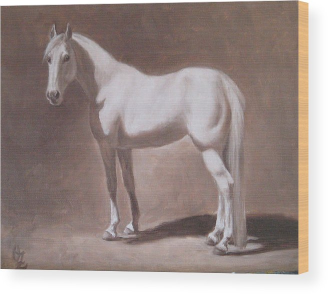 Horse Wood Print featuring the painting White Horse Study by Oksana Zotkina
