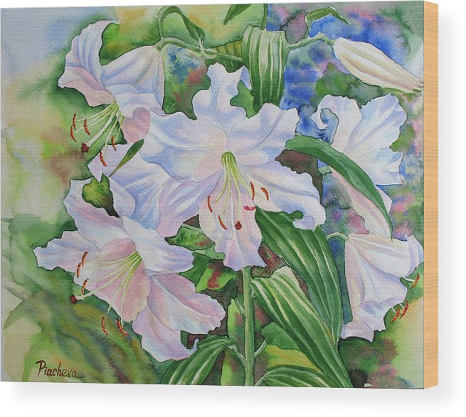 Watercolor Wood Print featuring the painting White Lily. 2007 by Natalia Piacheva