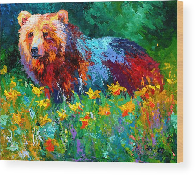 Bear Wood Print featuring the painting Wildflower Grizz II by Marion Rose