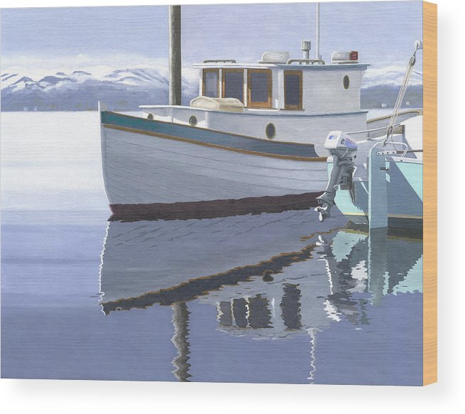 Marine Wood Print featuring the painting Winter Moorage by Gary Giacomelli