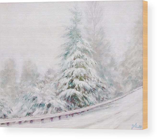 Winter Landscape Wood Print featuring the painting Winter Of 04 by Jim Gola