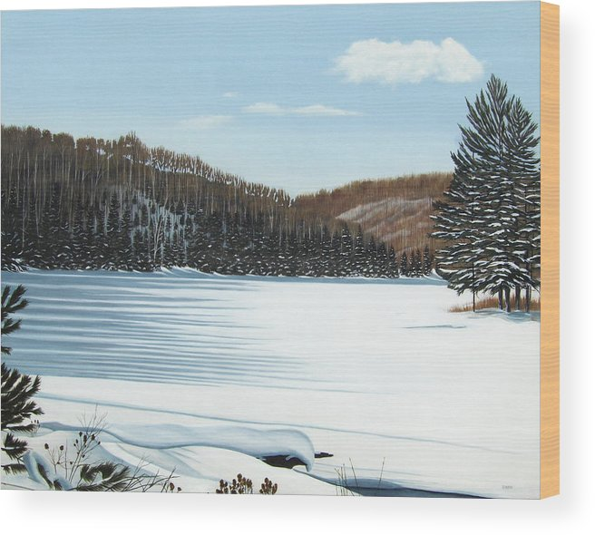 Landscapes Wood Print featuring the painting Winter On An Ontario Lake by Kenneth M Kirsch