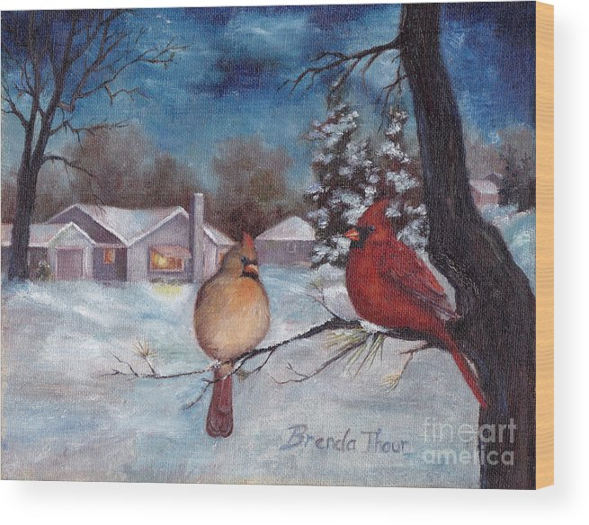 Cardinals Wood Print featuring the painting Winters Serenity by Brenda Thour