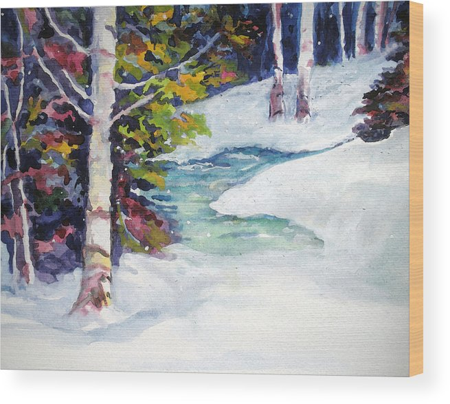 Winter Wood Print featuring the painting Winter's Solace by Mary Sonya Conti