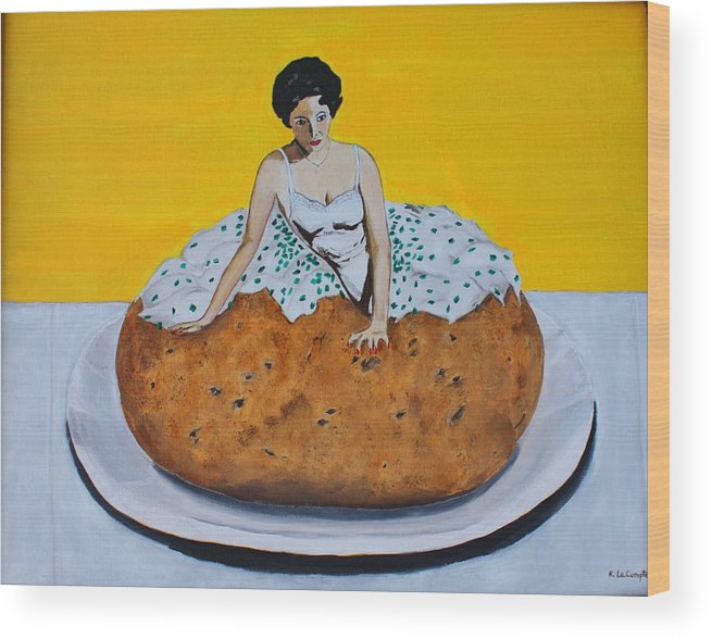 Elizabeth Taylor Wood Print featuring the painting With Everything by Ralph LeCompte