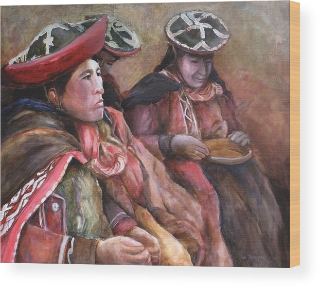 Andes Wood Print featuring the painting Women Of The Andes by Jun Jamosmos