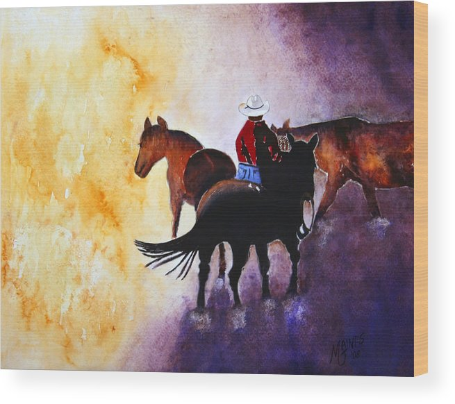 Rancher Wood Print featuring the painting Wranglers Work Day by Mary Gaines
