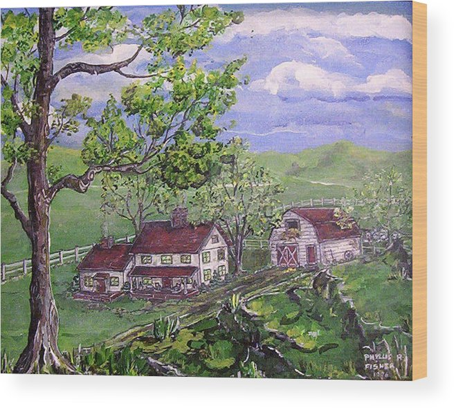 Landscape Wood Print featuring the painting Wyoming Homestead by Phyllis Mae Richardson Fisher