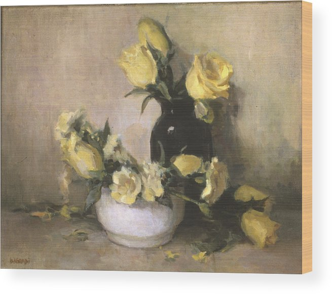 Yellow Roses Wood Print featuring the painting Yellow Roses by Joan DaGradi