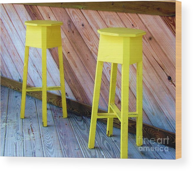 Yellow Wood Print featuring the photograph Yellow Stools by Debbi Granruth