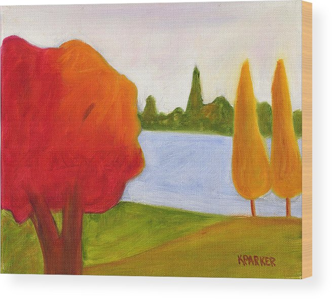 Landscape Wood Print featuring the painting Yellow Trees by Kelly Parker