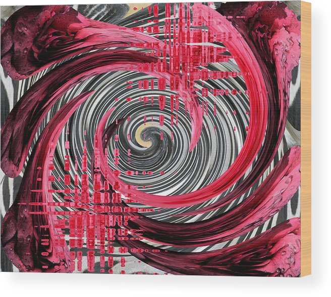 Red Wood Print featuring the photograph Zebra And A Rose by Patricia Januszkiewicz