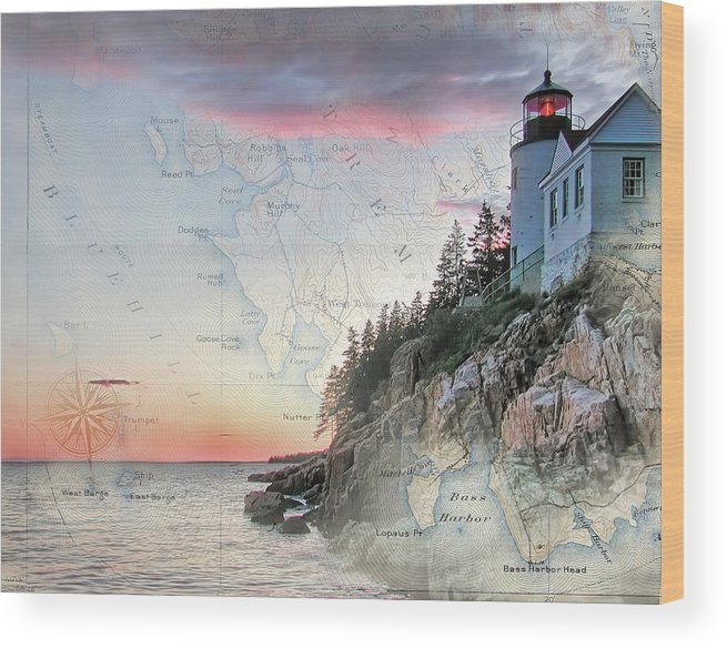 Lighthouses Of New England Wood Print featuring the photograph Bass Harbor Lighthouse On A Chart by Jeff Folger