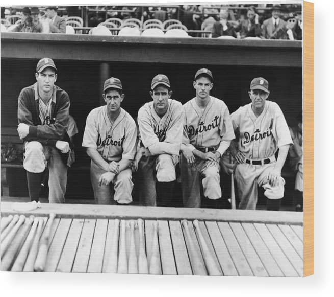 People Wood Print featuring the photograph Detroit Tigers 1935 Pitching Staff And by Fpg