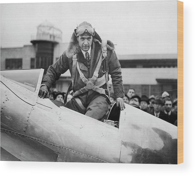 Timeincown Wood Print featuring the photograph Hughes Boards His Plane by Time Life Pictures