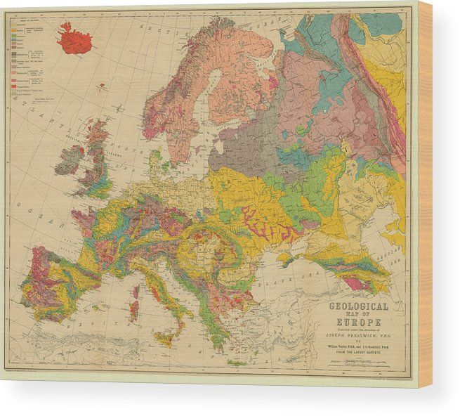 Map Of Europe 1860c Geological Map Wood Print By Historic Map Works Llc