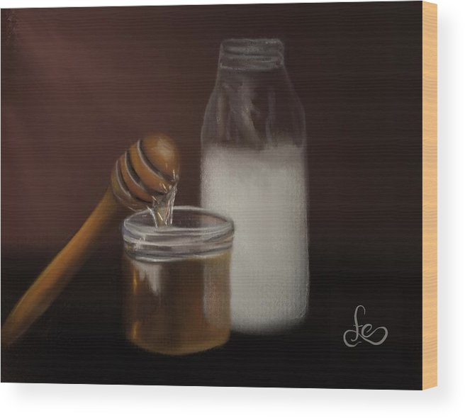 Wood Print featuring the painting Milk And Honey by Fe Jones