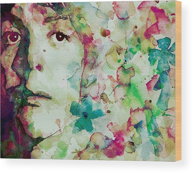 The Beatles Wood Print featuring the painting Paul Mccartney - Hello Goodbye - Portrait by Paul Lovering