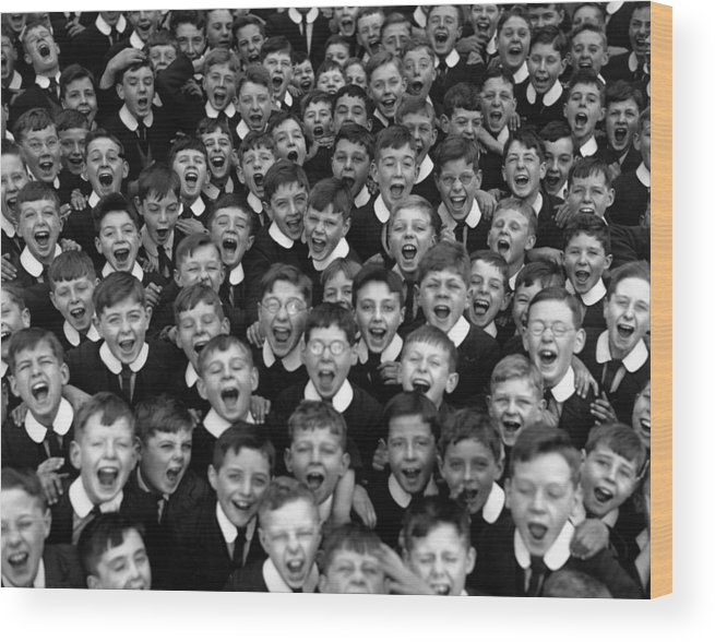 Crowd Wood Print featuring the photograph Schoolboys Cheer by Fox Photos