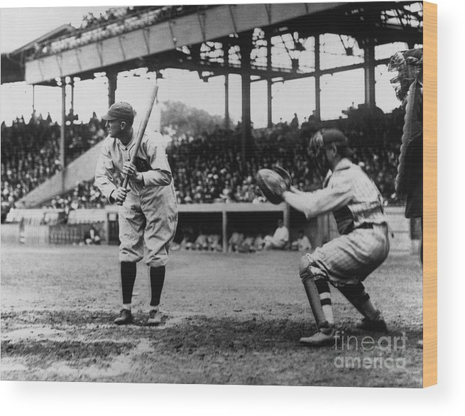 Baseball Catcher Wood Print featuring the photograph Ty Cobb by National Baseball Hall Of Fame Library