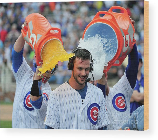 Ninth Inning Wood Print featuring the photograph Anthony Rizzo, David Ross, And Kris Bryant by David Banks