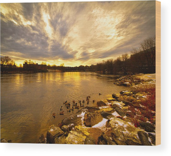 Androscoggin River Wood Print featuring the photograph Androscoggin River Between Lewiston And Auburn by Bob Orsillo