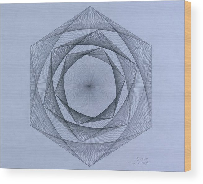 Jason Padgett Wood Print featuring the drawing  Energy Spiral by Jason Padgett
