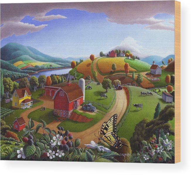 Folk Art Wood Print featuring the painting Folk Art Blackberry Patch Rural Country Farm Landscape Painting - Blackberries Rustic Americana by Walt Curlee