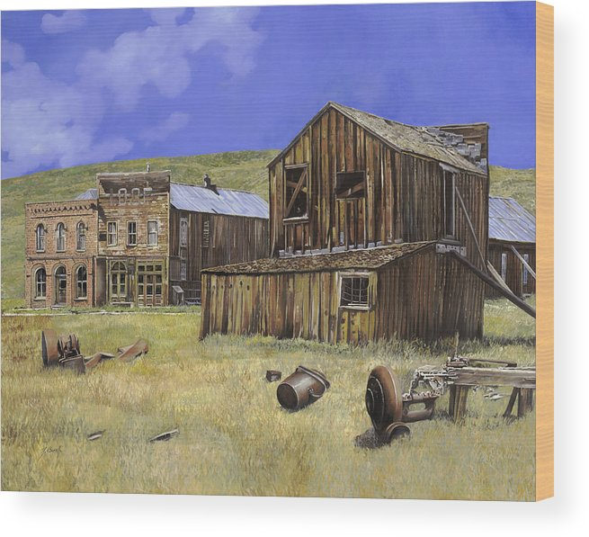 Bodie Wood Print featuring the painting Ghost Town Of Bodie-california by Guido Borelli