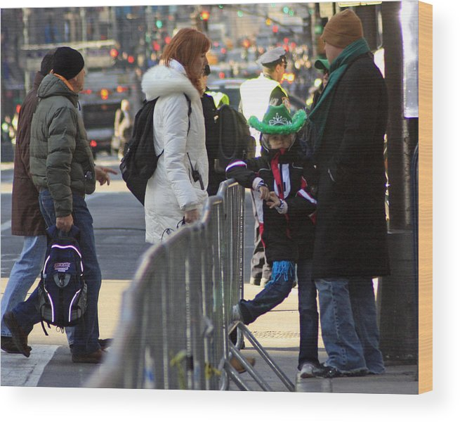 People Wood Print featuring the photograph A View Of Some People Enjoying The 2009 New York St. Patrick Day by James Connor