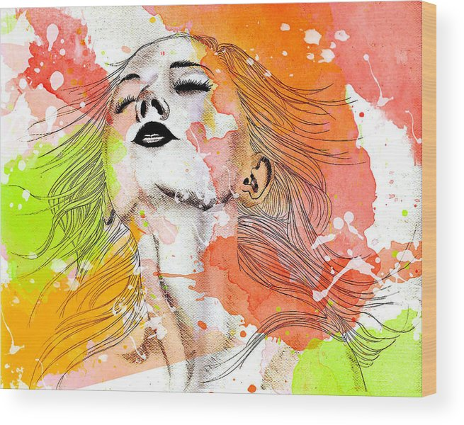 Burst Of Colors Wood Print featuring the mixed media Summer Of Freedom by Elisabeth Vania