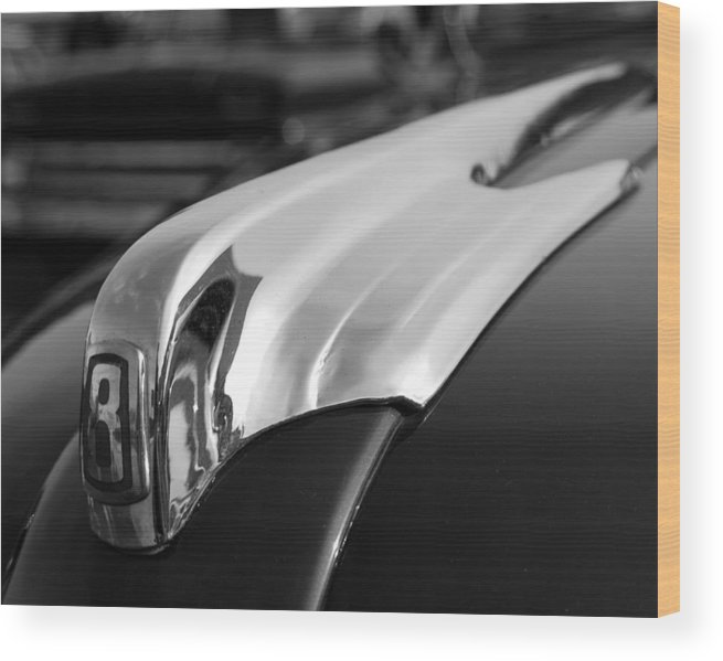 Hood Ornaments Wood Print featuring the photograph 1946 Ford Deluxe 2 Door Sedan Hood Ornament by DJ Monteleone