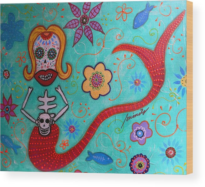Mermaid Wood Print featuring the painting Day Of The Dead Mermaid by Pristine Cartera Turkus